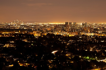 Night skyline from Getty Center