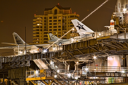 Plane Tails at Night - USS Midway