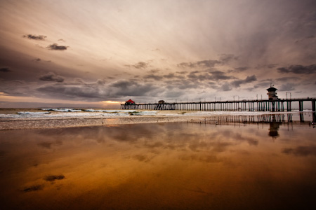 Huntington Beach Pier: Dramatic Sunset