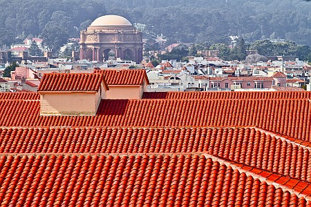 Fort Mason roofs and Palace of Fine Arts