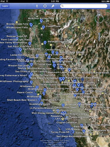 California Photo Location map on iPad